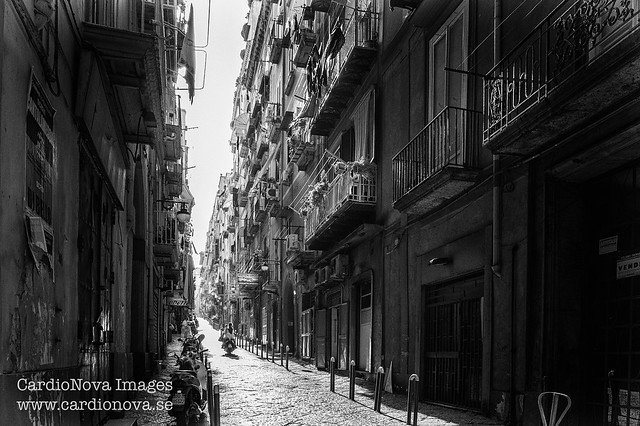 Alley in the historic center of Naples, Italy