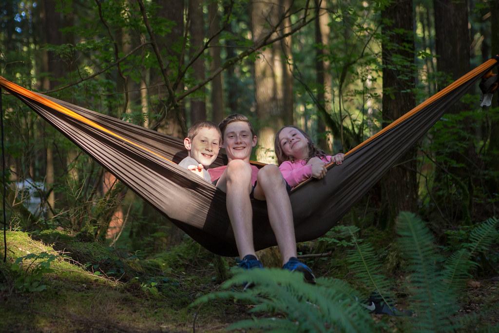Three kids in a hammock
