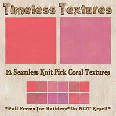 TT 12 Seamless Knit Pick Coral Timeless Textures