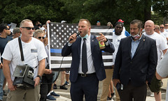 """State Rep. Joe Polletta addressed the crowd at the """"Back the Blue"""" rally at the state capitol, where law enforcement officers rallied against so-called """"police accountability"""" legislation."""