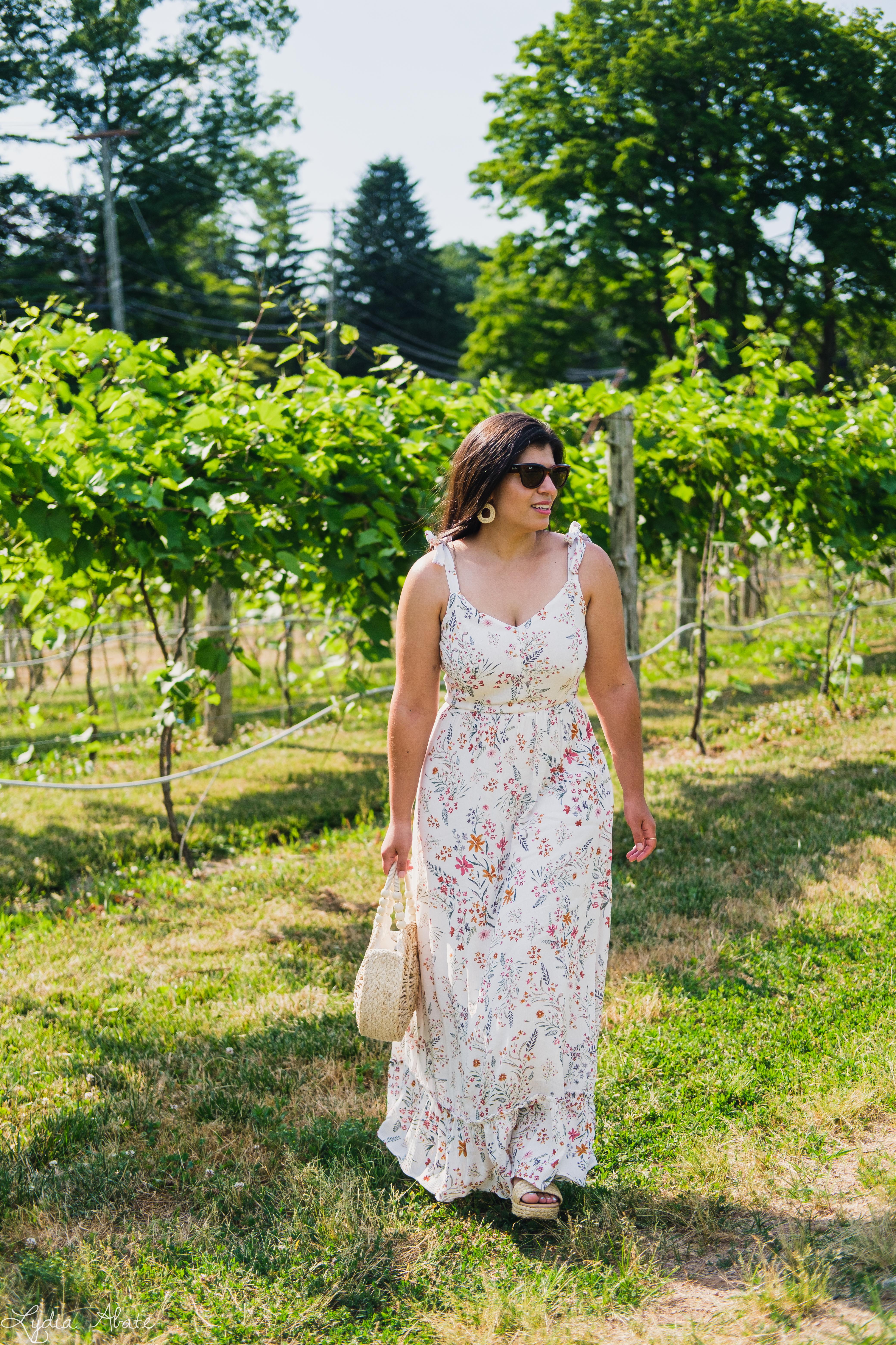 white floral print maxi dress, round straw bag-8.jpg