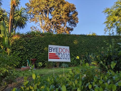 BYEDON 2020 sign, Burbank, California, USA