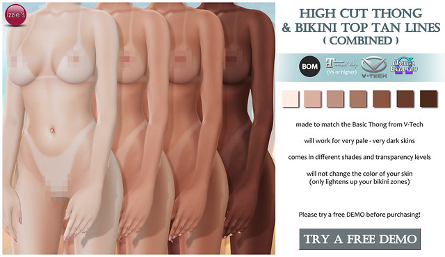 High Cut Thong & Bikini Top Tan Lines (for FLF)