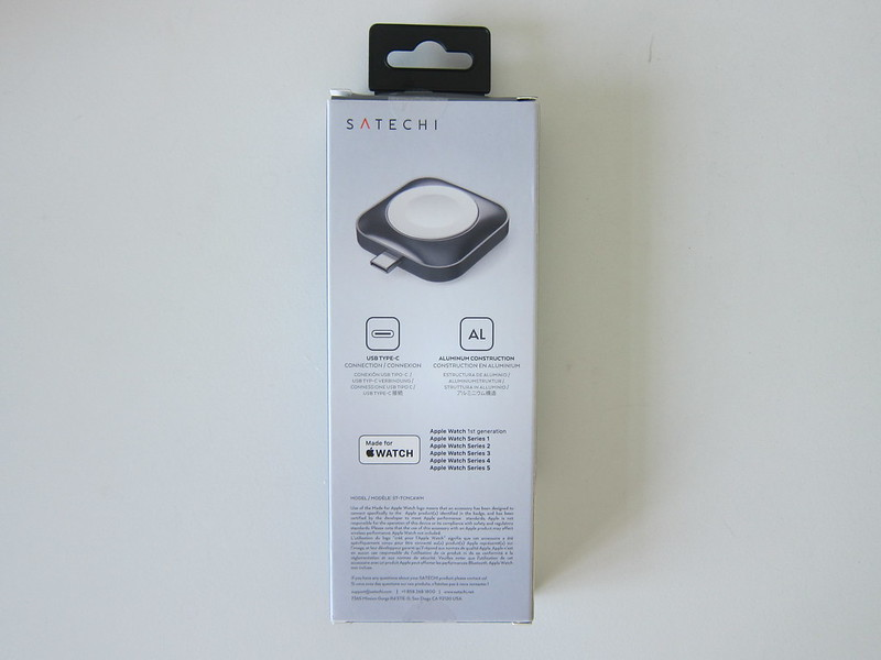 Satechi USB-C Apple Watch Magnetic Charging Dock - Box Back