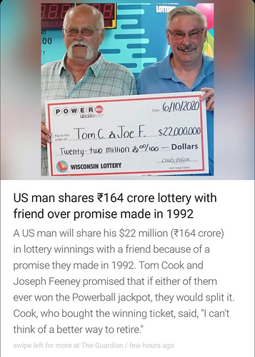 """InShorts: """"US man shares ₹164 crore lottery with friend over promise made in 1992""""!"""