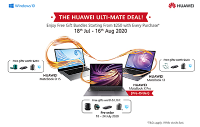 To celebrate the launch of the MateBook X Pro in Singapore, Huawei is having a campaign from 18 July - 16 August 2020 to give out gift bundles ranging from S$250 - S$1,200 for every purchase on selected laptops.
