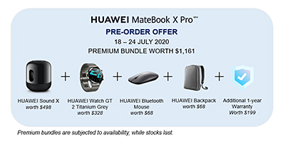 The HUAWEI MateBook X Pro in Space Gray is available to pre-order in Singapore from 18 – 24 July 2020 at all Huawei Concept Stores, online official stores in Lazada and Shopee. as well as authorised retailers. Each pre-order comes with a gift bundle worth S$1,161.