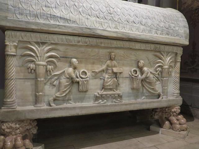 Sarcophage de San Barbaziano, Ve siècle, cathédrale de la résurrection de Notre-Seigneur XVIIIe, Ravenne, Emilie-Romagne, Italie.