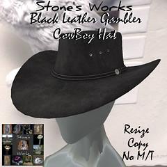 Black Leather Gambler Unisex Cowboy Hat