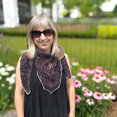 Rita (ritz) test knit Barbara Nalewko's  Grass and Flowers Shawl! Pattern is  available for 20% off until July 26th with the code FLOWERS20.