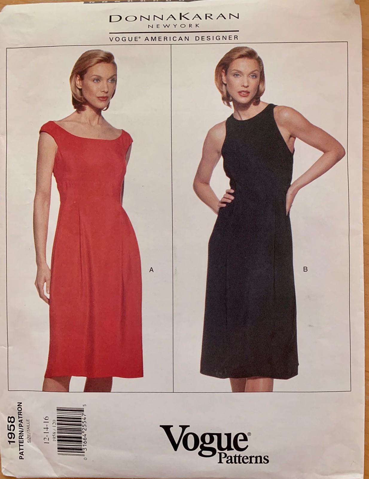 Vogue 1958 DKNY pattern red dress