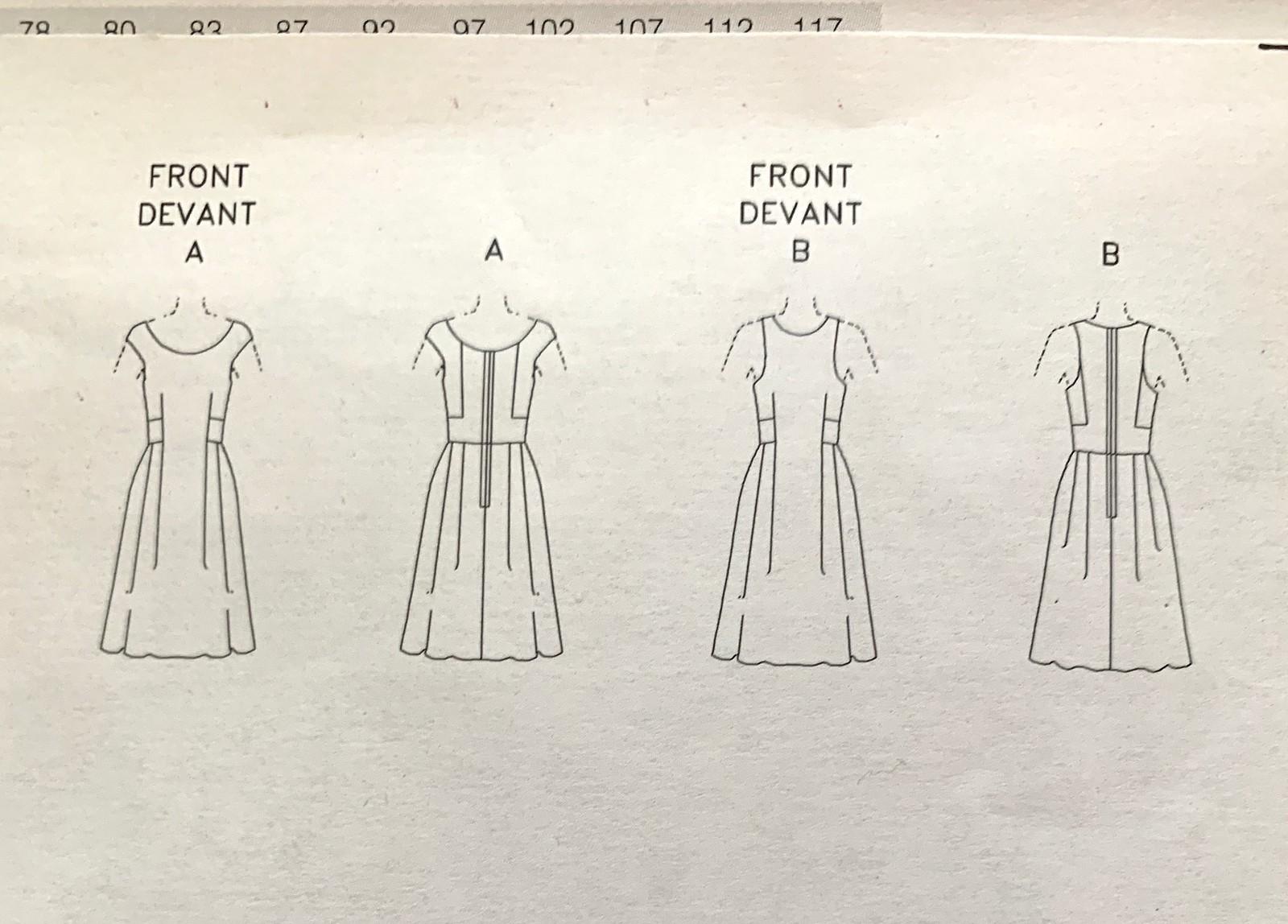 Vogue 1958 DKNY pattern tech drawing