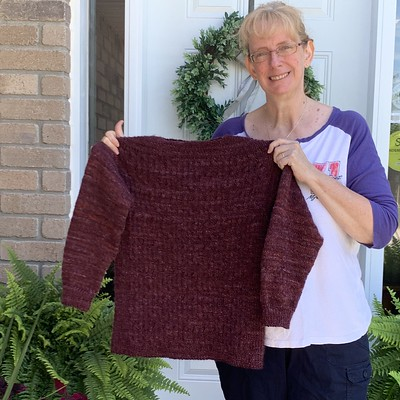 Linda finished Silver White Winters by Mary Annarella - a gorgeous, textured knit!