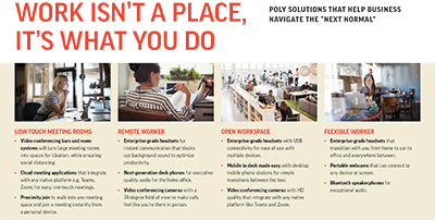 "Poly solutions that help businesses navigate the ""next normal"". Click on image to enlarge."