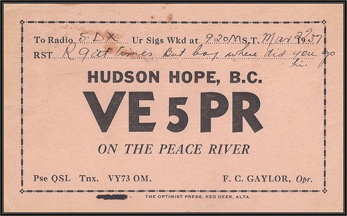 Vintage Ham Radio QSL Postcard  - 30 March 1937 - (VE-5PR) HUDSON HOPE, B.C. (split ring / broken circle cancel / postmark) to (VE-5DX) Prince Rupert, British Columbia, Canada (front)