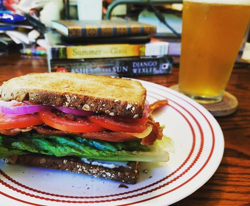 Since work I have: walked doggos, listened to 1/3 of #folklore, eaten this BLT, and quaffed this beer. #ahhhhh #yum #blt #beer