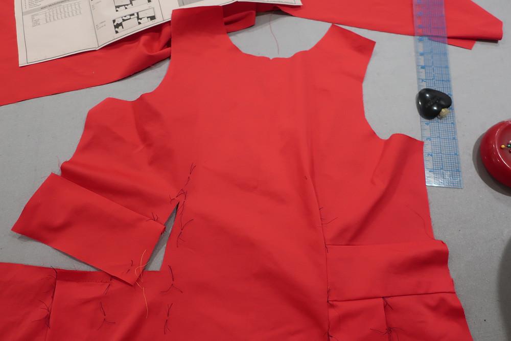 Red sateen dress construction