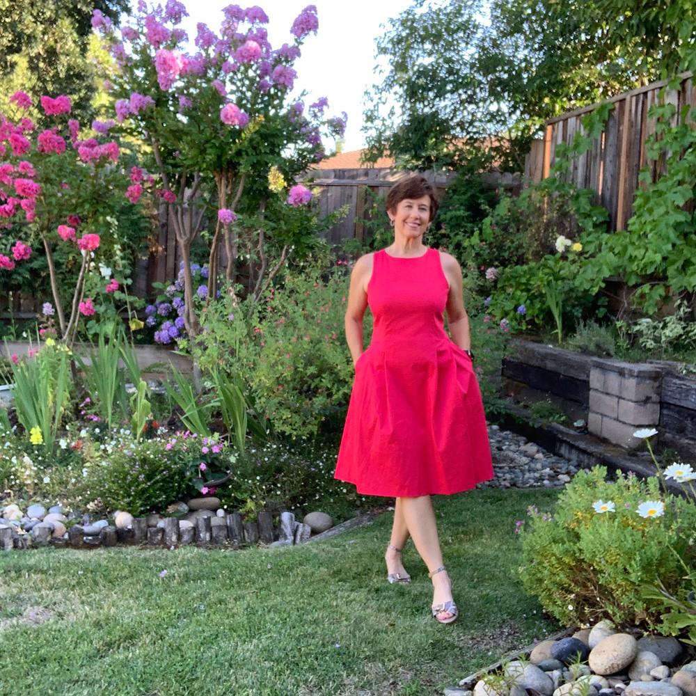 Red sateen dress 2
