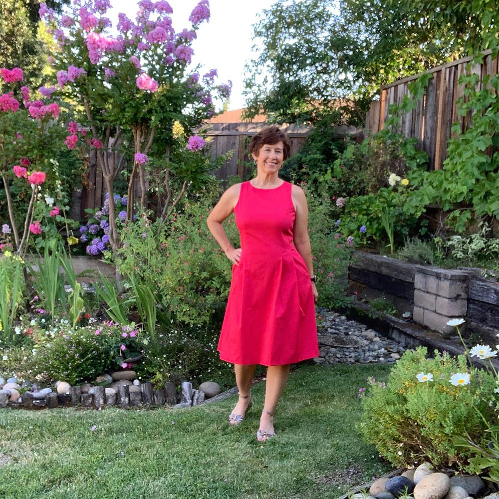 Red sateen dress 6