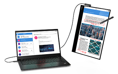 Lenovo's latest mobile monitor, the ThinkVision M14t.