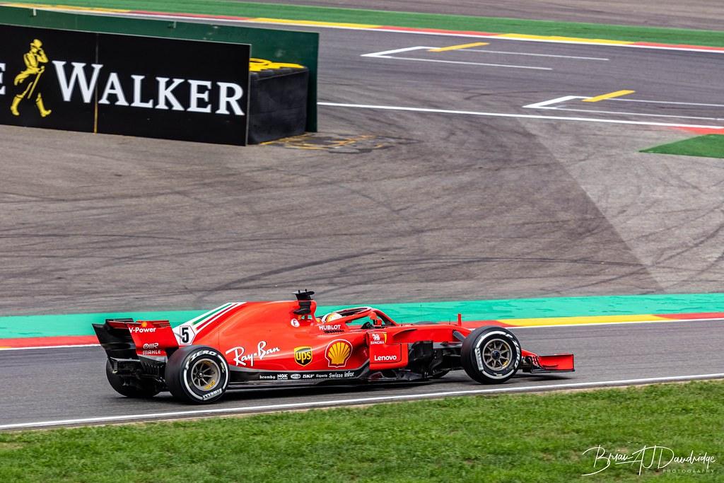 Sebastian Vettel in the Ferrari at the Belgian Grand Prix