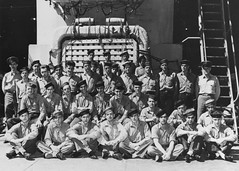 In this undated photo, members of the crew of USS Indianapolis (CA 35) pose in the well deck during World War II. (U.S. Navy)