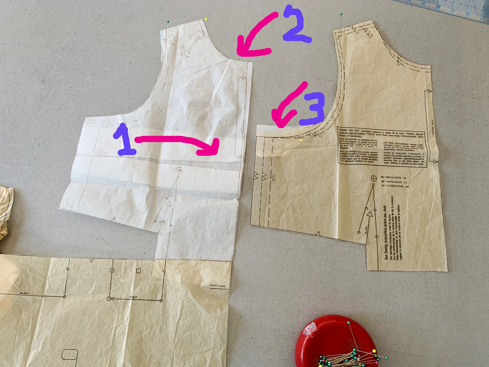 Red sateen vogue dress pattern piece front