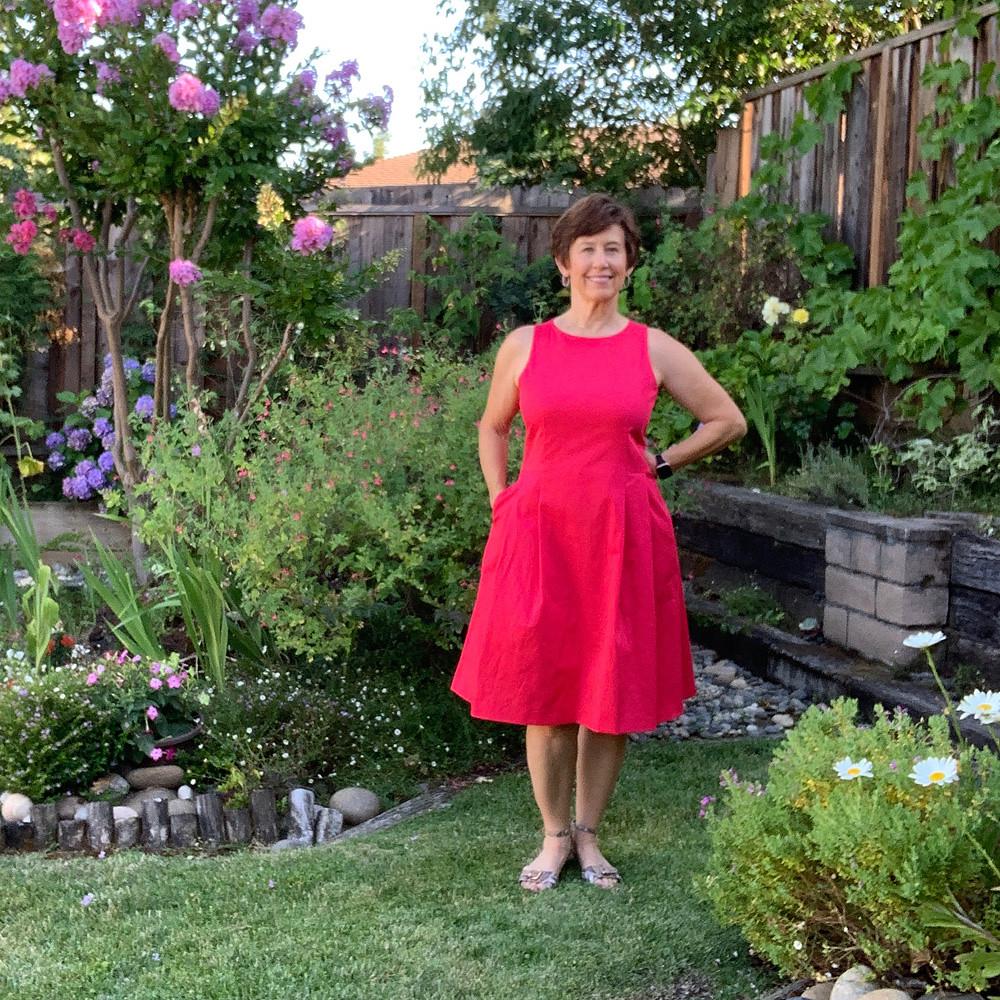 Red sateen dress1