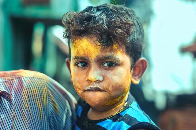 Beautiful Portrait of a boy of Holi, the Hindu Festival of Colors