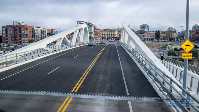 Peering Down on the Johnson Street Bridge Ahead From A BCTransit Double Decker