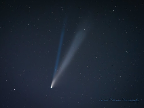 Comet NEOWISE with ion trail