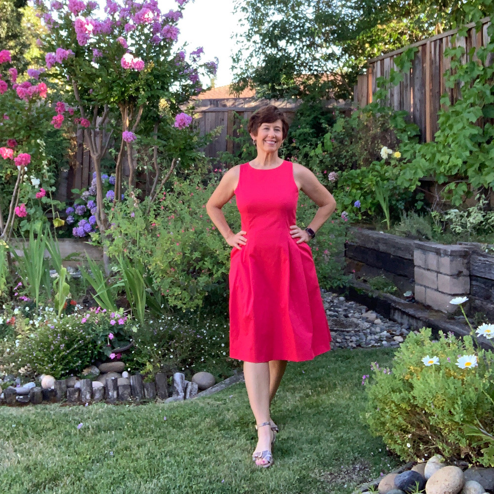 Red sateen dress9