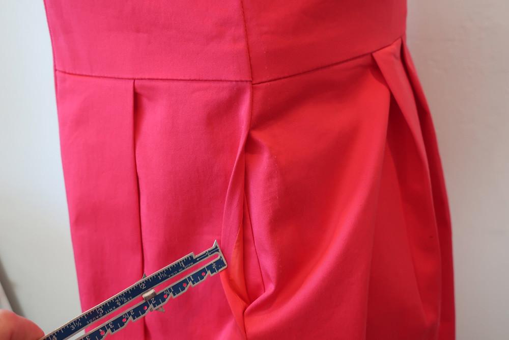 Red sateen dress pocket