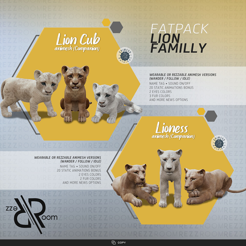 Rezz Room] Lion Family (Companion) FATPACK