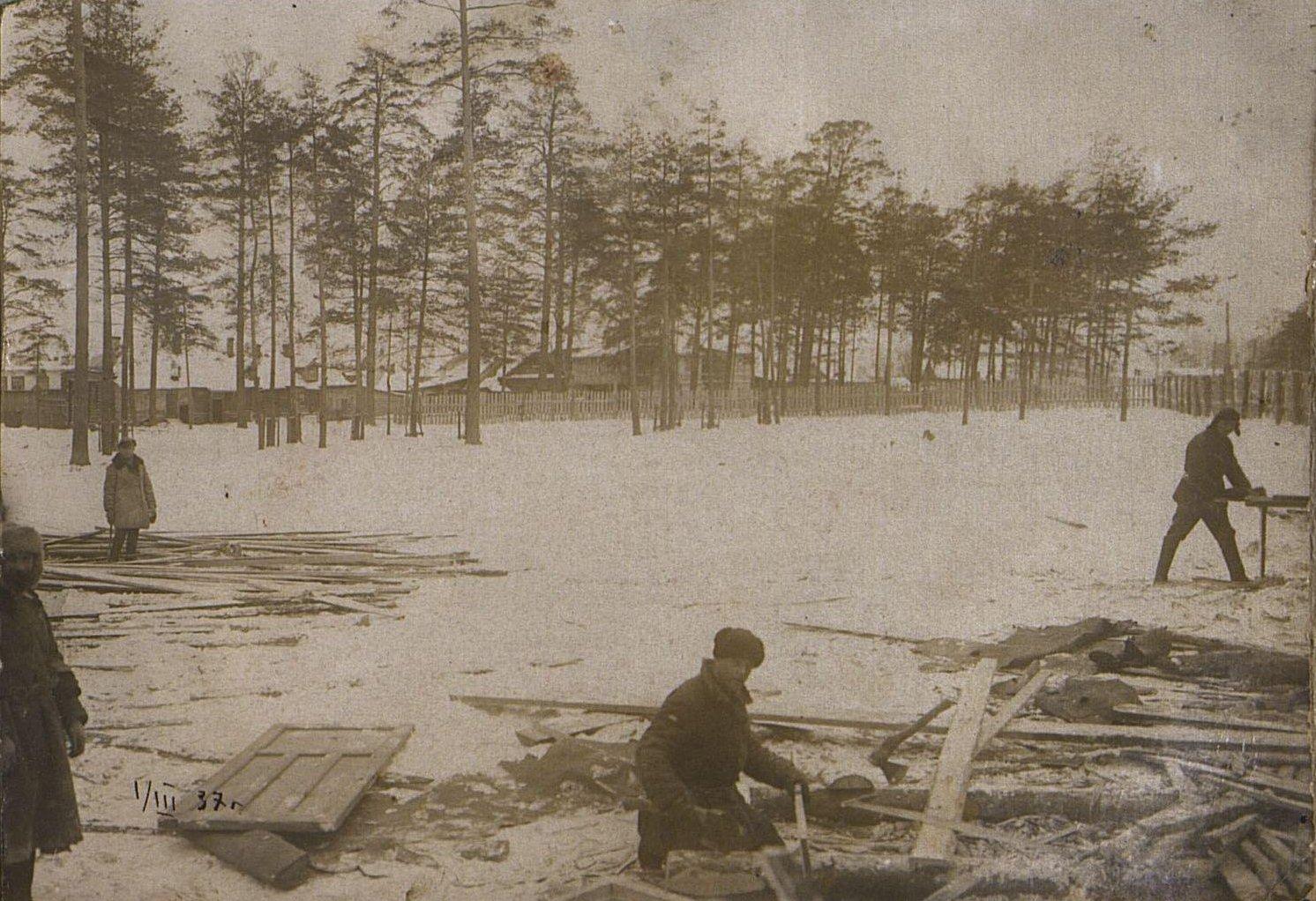 13. 1937. Строительство школы на Нижней Пресне. 1 марта