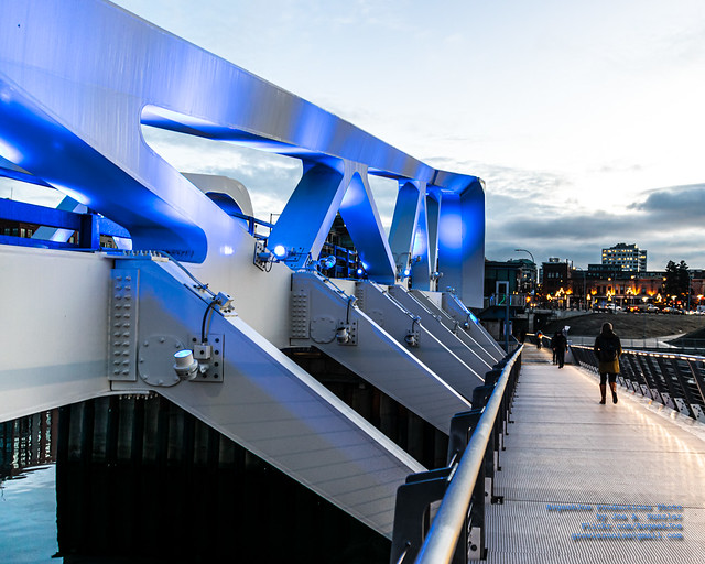 Walking Across the Johnson Street Bridge in the Victoria Dawn