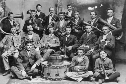cornets flugelhorns tenorhorns baritones euphoniums trombones tubas percussion brass bands marching instruments team uniforms parade ceremonies