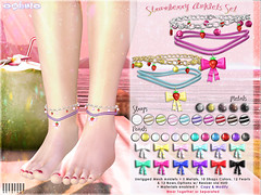 [ bubble ] Strawberry Anklets Set