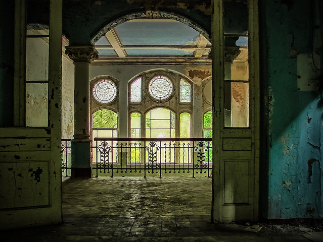 abandoned sanatorium - View of the beautiful old staircase