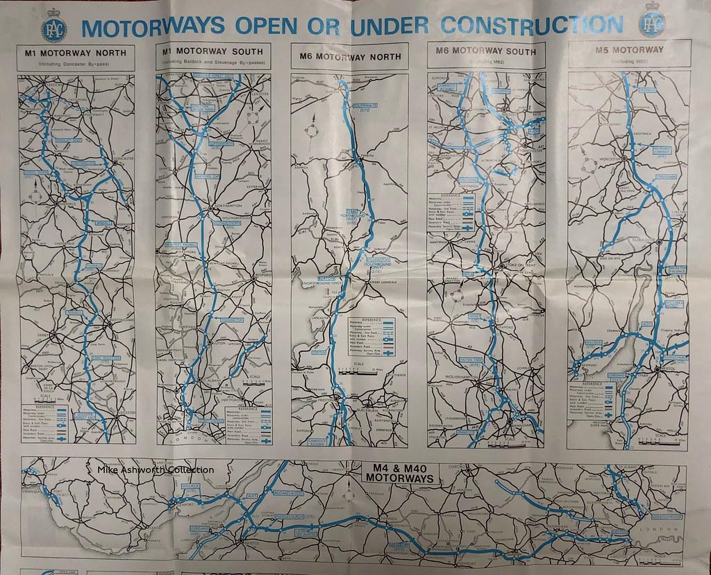 RAC - know your motorways, June 1972 - motorways open or under construction (strip map) 1