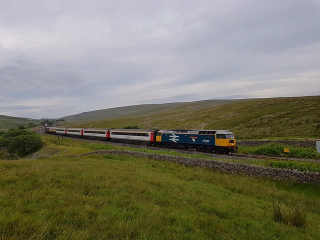 Loco No.47593 'Galloway Princess' leaves Blea Moor behind on the 17.58 working to Skipton from Appleby. D6817 (37521) on the rear. 24 07 2020
