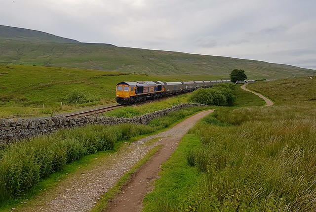 GBRf Loco 66756 'Royal Corps of Signals' departs Blea Moor UGL, after running around its train, on the 16.43 Acrow Quarry - Pendleton service. 24 07 2020