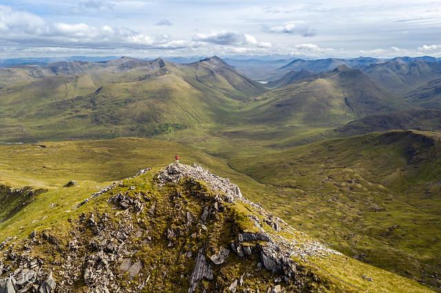Posing on summit of Sgurr nan Ceathramhnan 1151m