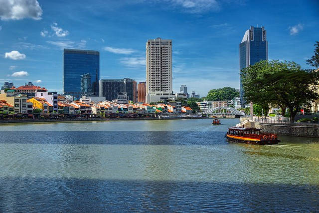 Singapore river with Boat Quay on the left