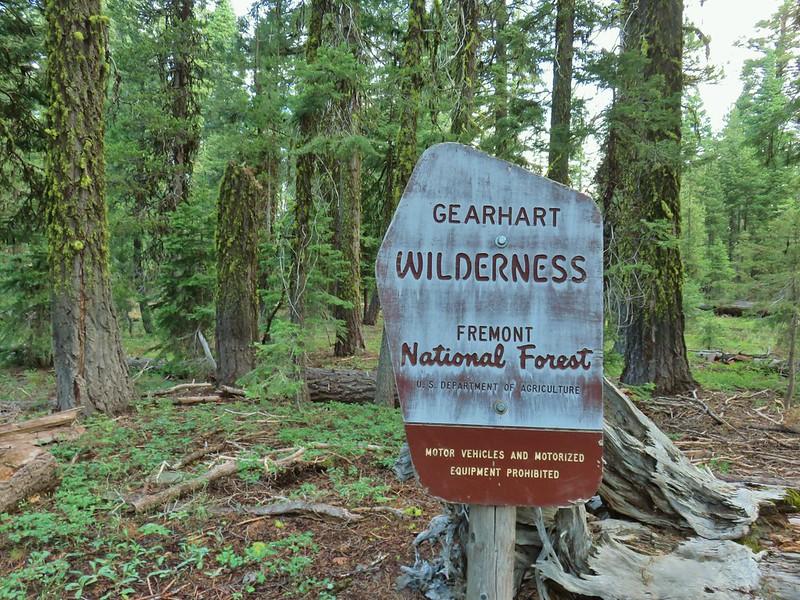 Gearhart Mountain Wilderness sign