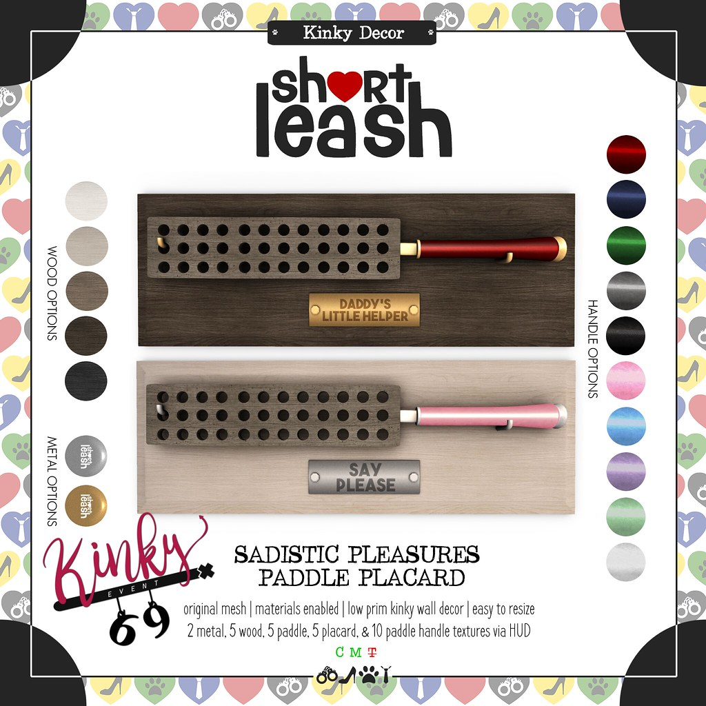 .:Short Leash:. Sadistic Pleasures Paddle Placard