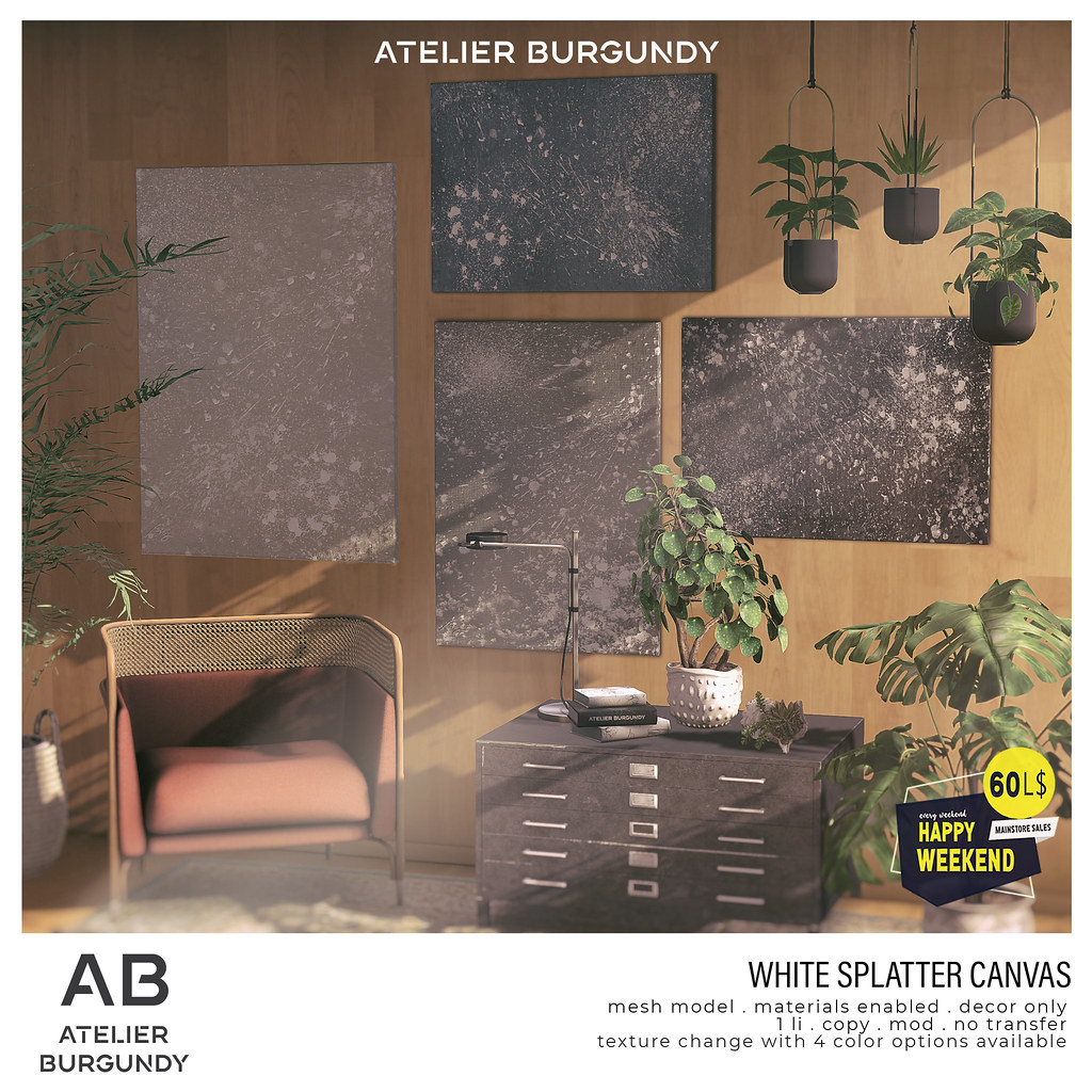 Atelier Burgundy . White Splatter Canvas