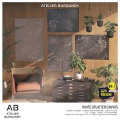 Atelier Burgundy . White Splatter Canvas