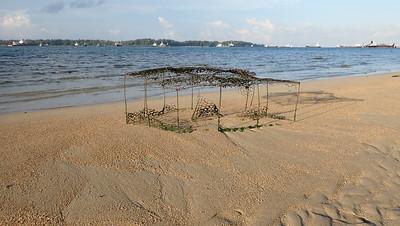 Large broken abandoned fish trap on Terumbu Pempang Laut, Jul 2020