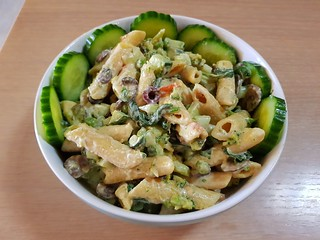 Creamy Penne With Veggies turned into pasta salad